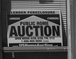 foreclosure sign b/w